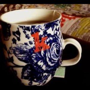 "Set of 4 Anthropologie ""K"" blue and white mug"